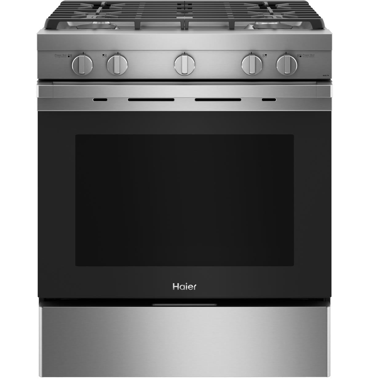"Haier 30"" Smart Slide-In Gas Range with Convection QGSS740RNSS"