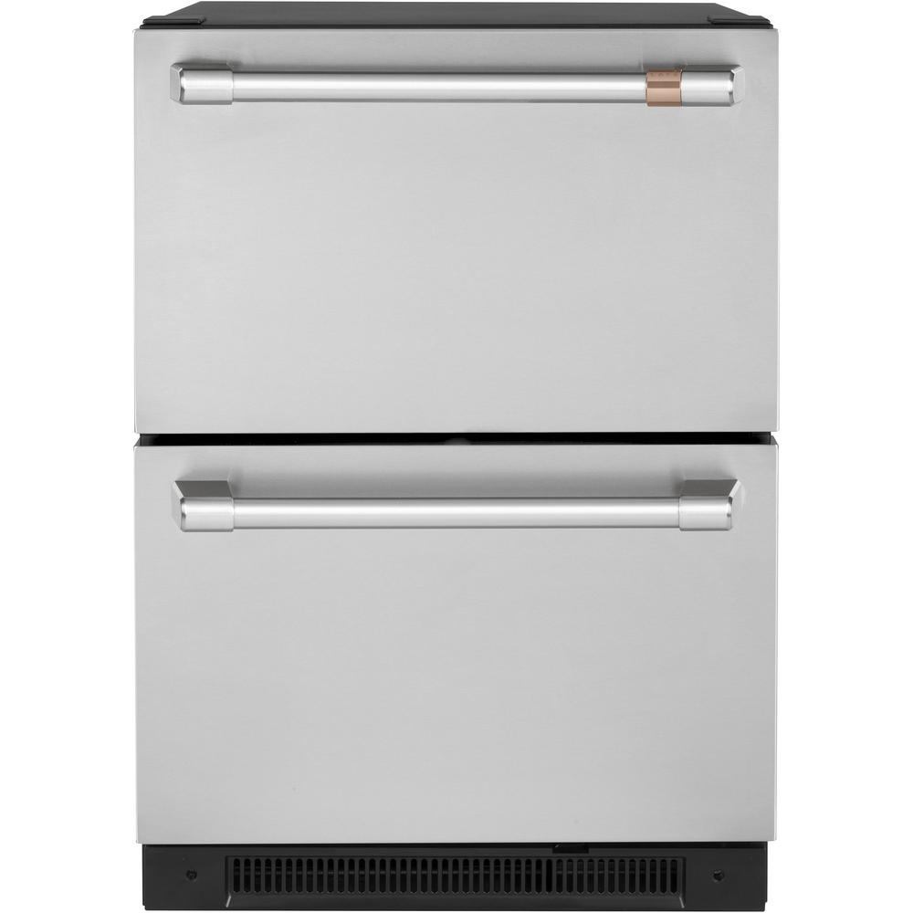 GE Cafe 5.7 cu. ft. Built-in Undercounter Dual-Drawer Refrigerator in Stainless Steel