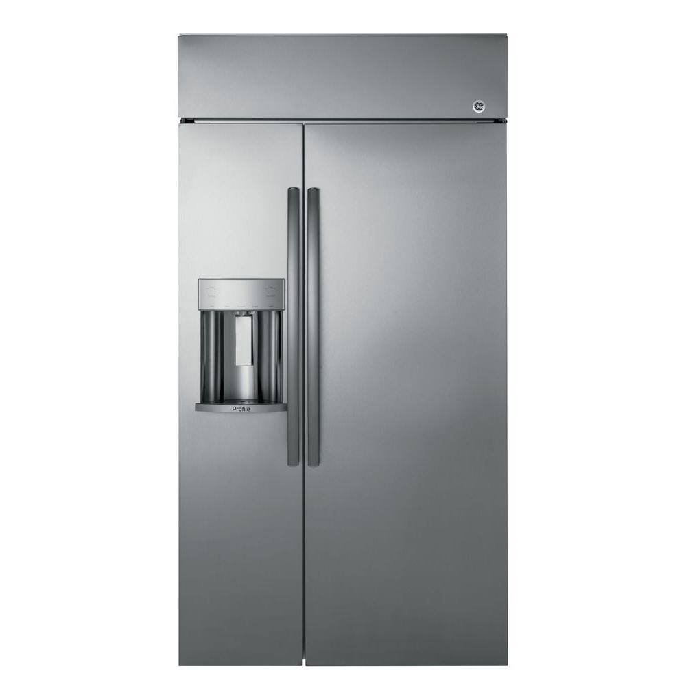 GE Profile 48 in Width ft. Built-In Side by Side Refrigerator in Stainless Steel (28.7 Cu Ft) Model PSB48YSKSS