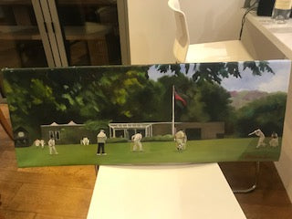 Oil Painting on Warnford with the Pavilion and Play