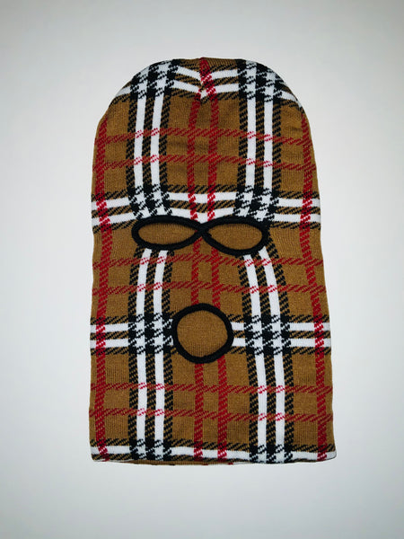 SKI-05 Designer Inspired Brown PLAID SKI MASK