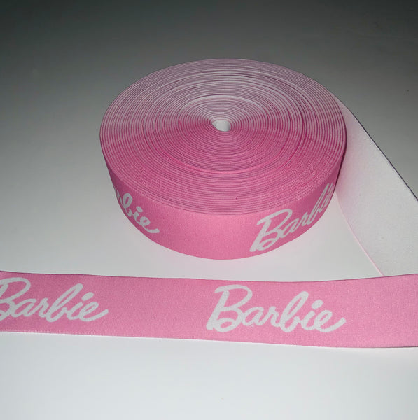 ELASTIC-74 Designer Inspired Powder PINK Barbs and white Elastic by the YARD