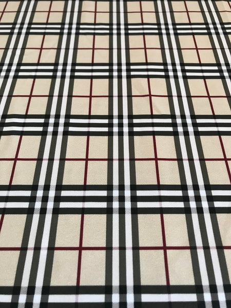 BUR-101 Designer Inspired BERRY STRIPE PLAID Spandex Lycra Fabric
