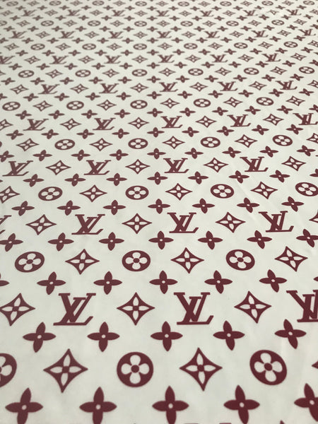 b0944776f8d9 LV-309 Designer Inspired WHITE with Maroon LV Vuitton Spandex Lycra Fabric