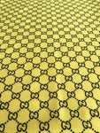 GU-305 Designer Inspired Yellow and Black GG Spandex Lycra Fabric 1 YARD