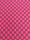 GU-302 Designer Inspired Hot Pink with Black Spandex Lycra Fabric