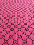 GU-302 Designer Inspired Hot Pink with Black GG Spandex Lycra Fabric