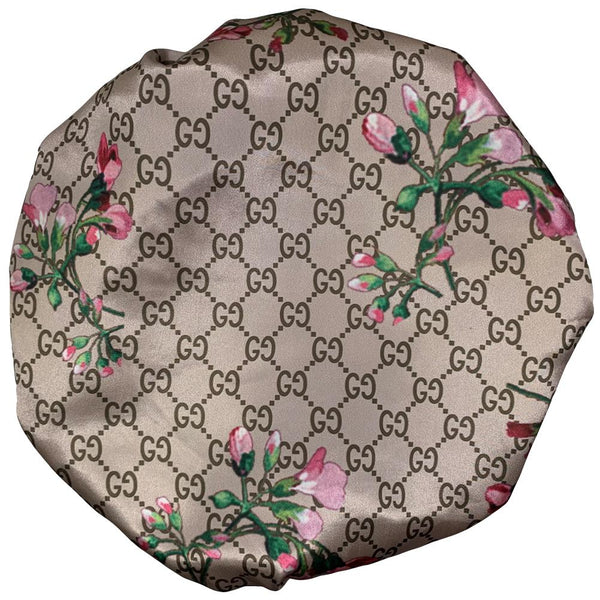 BONNET-05 Designer Inspired G Beige Flower BONNET DURAG hair tie