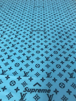 LV-110 Designer Inspired LV x SUPREME TEAL Vuitton Spandex Lycra Fabric