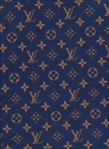 LV-203 Designer Inspired NAVY BLUE with GOLD LV Vuitton Spandex Lycra Fabric