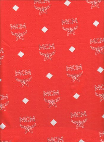 MCM-102 Designer Inspired RED with WHITE MCM Spandex Lycra Fabric