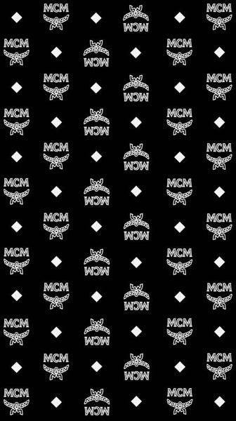 MCM-105 Designer Inspired Black with WHITE MCM Spandex Lycra Fabric