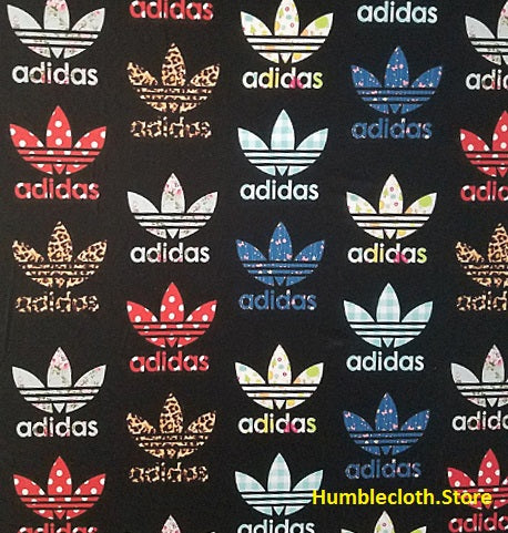 ADI-102 Designer Inspired ADIDAS BLACK MULTI-COLOR Spandex Lycra Fabric