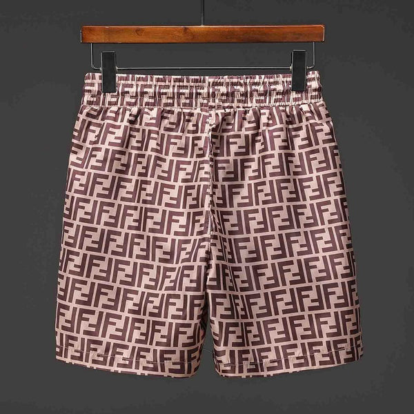 e17c06244e ... SHORTS-19 Designer Inspired FF FENDI Brown Tan logo Swim Trunks Beach  Shorts