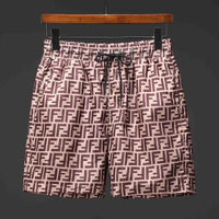SHORTS-19 Designer Inspired Brown Tan logo Swim Trunks Beach Shorts
