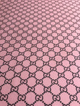 GU-504 Designer Inspired GG Spandex Lycra POWDER PINK and Black Fabric 1 YARD