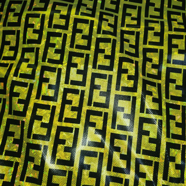 HOLO-103 Designer Inspired YELLOW HOLOGRAM Spandex Lycra Fabric