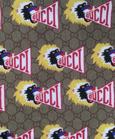 GU-407 Designer Inspired Spandex Lycra Beige with Tiger Fabric 1 YARD