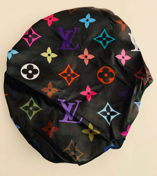 BONNET-09 Designer Inspired BONNET Black Multi-Color DURAG hair tie