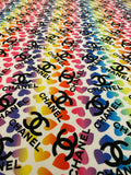 CL-207 Designer Inspired Rainbow hearts Spandex Lycra Fabric 1 Yard