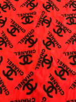 CC-103 Designer Inspired RED with BLACK CC Spandex Lycra Fabric