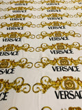 VER-110 Designer Inspired White and Gold Versace Spandex Lycra Fabric