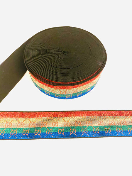 CELASTIC-78 Designer Inspired RAINBOW Red yellow green Elastic by the YARD
