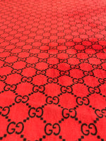 VELVET-201 Designer Inspired RED G and BLACK VELVET Stretch Fabric