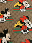 GU-601 Designer Inspired BEIGE MINNIE and MICK together Spandex Lycra Fabric
