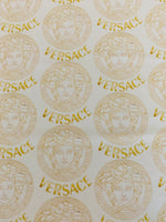 VER-104 Designer Inspired MEDUSA WHITE with GOLD CIRCLES Spandex Lycra Fabric