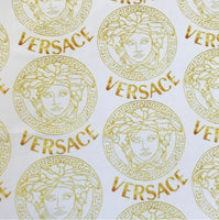 VER-208 Designer Inspired Small White and GOLD Spandex Lycra Fabric