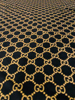 VELVET-207 Designer Inspired BLACK and GOLD VELVET Fabric