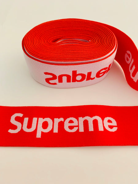 ELASTIC-10 Designer inspired SUPREME RED Elastic by the YARD
