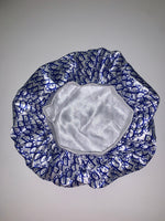 BONNET-26 Designer Inspired BONNET ROYAL BLUE AND WHITE DO Durag hair tie