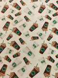 FOOD-101 Designer Inspired Star Green Coffee Spandex Lycra Fabric