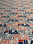 FIL-101 Designer Inspired White Red Blue Logo Spandex Lycra Fabric