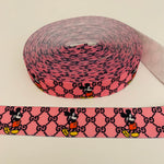 ELASTIC-49 Designer inspired PINK AND BLACK MICK Elastic 1.6 in wide by the YARD
