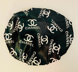 BONNET-30 Designer Inspired BONNET Black and white C Durag hair tie