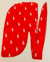 Copy DURAG-37 Designer Inspired Red Pony Durag hair tie