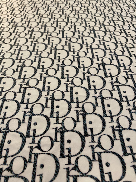 DR-203 Designer Inspired WHITE AND DENIM Big print Spandex Lycra Fabric