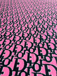 DR-106 Designer Inspired PINK and Black Spandex Lycra Fabric