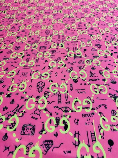 GU-203 Designer Inspired PINK with YELLOW and BLACK Spandex Lycra Fabric