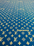 N-606 Designer Inspired ROYAL BLUE and WHITE X SUP Spandex Lycra Fabric