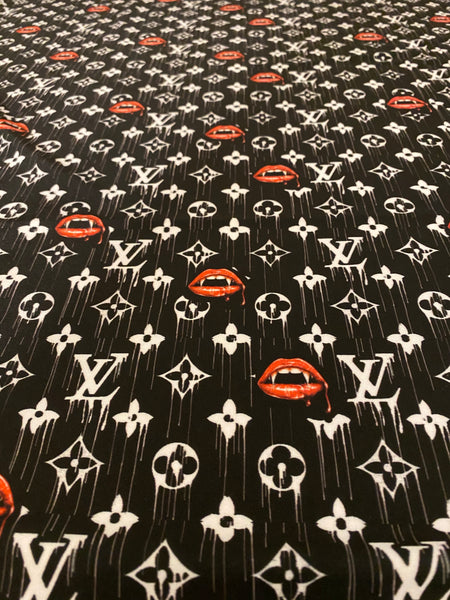 N-707 Designer Inspired Black with Red Lips Spandex Lycra Fabric