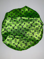 BONNET-15 Designer Inspired BONNET NEON GREEN Durag hair tie