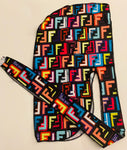 DURAG-15 Designer Inspired FENDI MULTICOLOR Durag long hair tie