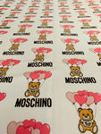 MOS-201 Designer Inspired Pink Bear with balloons Spandex Lycra Fabric Stretch