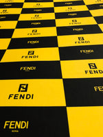 FEN-108 Designer Inspired BLOCK YELLOW and BLACK Spandex Lycra Fabric