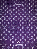 LV-109 Designer Inspired LV x SUPREME PURPLE Vuitton Spandex Lycra Fabric