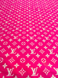 N-310 Designer Inspired HOT PINK with White Spandex Lycra Fabric